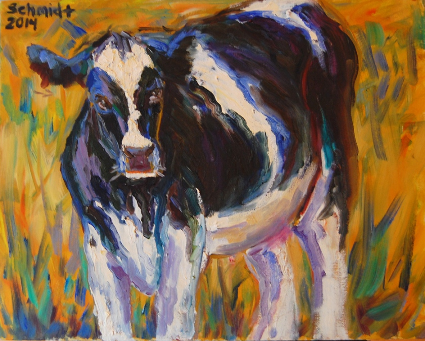 Oil painting of a black and white cow
