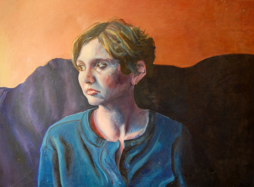 Oil painting self-portrait inspired by the song Lithium Sunset by Sting.