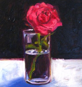 Oil painting of a red rose.