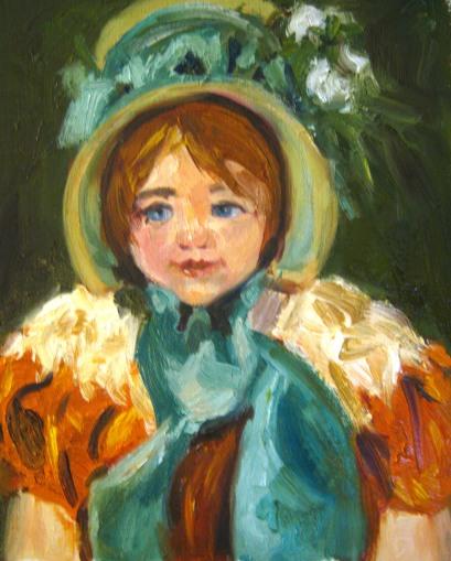 Sarah in a Green Bonnet, after Mary Cassatt