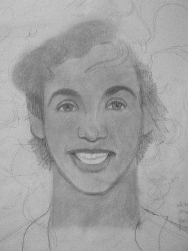 Whitney Houston portrait in progress