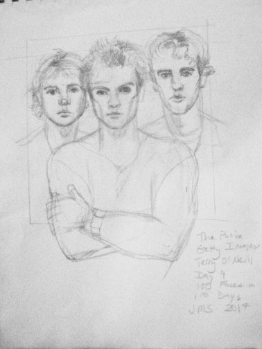 Here is a drawing from my 100 faces in 100 days challenge. Pictured are the famous 1980s rock band, The Police. I used a photo by photographer, Terri O'Neill, (1982) as reference for the drawing.