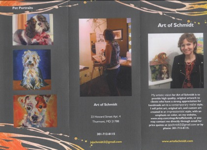 This is the front of the brochure for my custom art brochure.