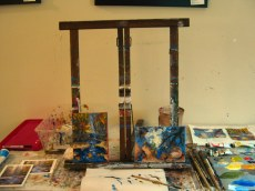 Art work on the easel