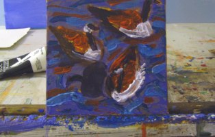 Canada Geese, Small Painting, 2