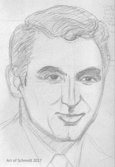 Cary Grant, 100 Faces in 100 Days Challenge. Photo reference was attributed to Public Doman, via Wikipedia.