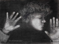 (Original Art) Self-Portrait from Copier Machine. Made with charcoal, kneaded eraser and pastel paper, using the erase out method.