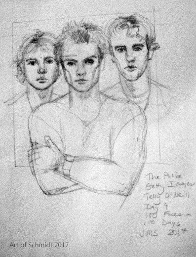 The Police,100 faces in 100 days challenge. Photo reference attributed to photographer, Terri O'Neill.
