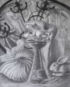 (Original Art) Vanitas. Made with paper and drawing pencils from an art class still life.