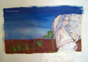 Stage 4: Creative Block, Waiting, stage 4. I started to add color with acrylic paint, after the acrylic Gesso had dried.