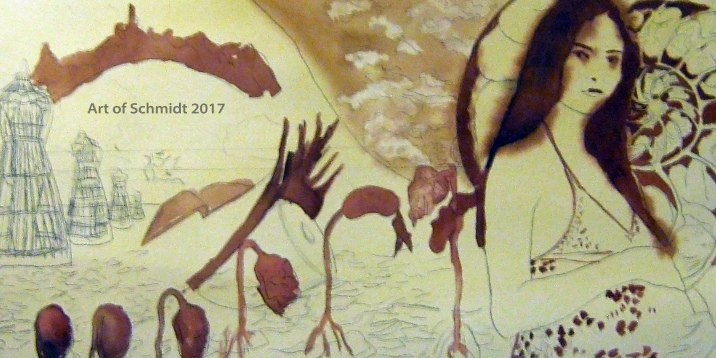 Stage 2: Creative Block: Waiting, stage 2. In this photo is the watercolor paining with sepia brown paint.