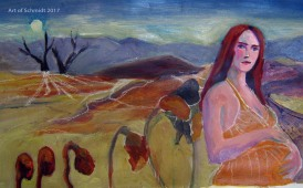 Stage 8: Creative Block, Waiting. Here I toned down the color of the sky, which seemed too saturated and which competed too much with the figure.