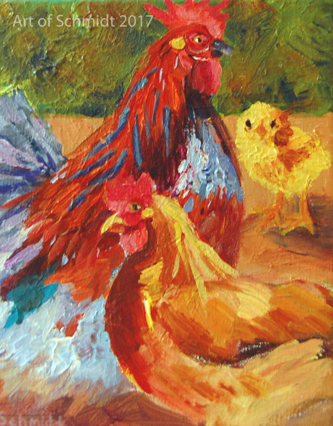 Rooster, Hen, Chick