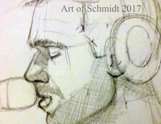 100 Faces in 100 Days, Chris Martin, pencil on paper, 2017, Jodie Schmidt.