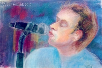 100 Faces in 100 Days, Chris Martin, pastel on paper, 2017, Jodie Schmidt.