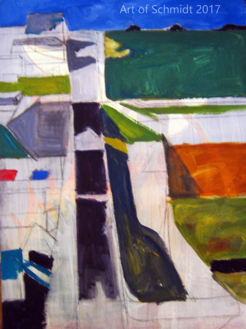 Here is another copy of Diebenkorn's painting, Citycape 1, (Landscape No.1), 1963. I just started this painting today. Also a copy.