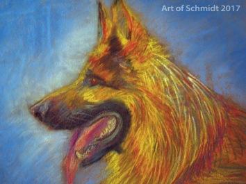 German Shepherd, Pastel on Paper, Jodie Schmidt, 2017.
