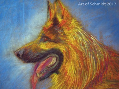 German Shepherd, Pastel on Paper, Jodie Schmidt, 2017.
