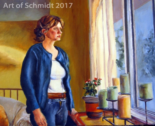 Here is a self-portrait I painted during my years as an art student at McDaniel College. Let Your Soul Be Your Pilot, 2005, Jodie Schmidt, Oil.
