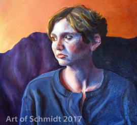 Another self-portrait from my art student years. Lithium Sunset, 2005, Jodie Schmidt, Oil on Canvas.
