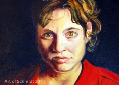Self-Portrait with Red Shirt, 2004, Jodie Schmidt, oil.