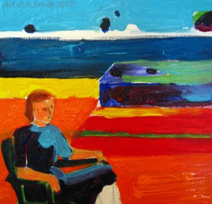 This is stage one of the painting I copied, Woman on a Porch, 1958, Richard Diebenkorn. Acrylic on Canvas. The original painting was made with oils.