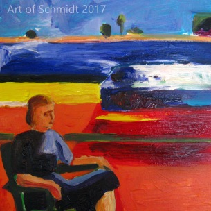 Here is stage 2 in which I re-worked some of the colors to try and get closer to the original painting by Diebenkorn. Note: This painting is a copy, not an original work and is intended for educational purposes only.