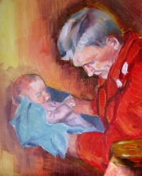 Dad and Holly, oil on canvas, 8 x 10 inches, Jodie Schmidt, 2011.