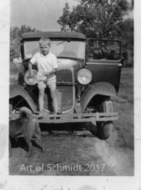 A photo of my dad and a 1929 Ford was used to construct the oil painting, Dad and 1929 Ford.