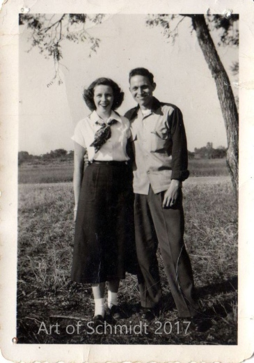 A photo I found of my father and his first wife, Phyllis, taken sometime in the 1940s or 1950s, provided the composition for the painting, Dad and Phyllis.