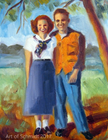 Dad and Phyllis, oil on canvas panel, 11 x 14 inches, Jodie Schmidt, 2011.