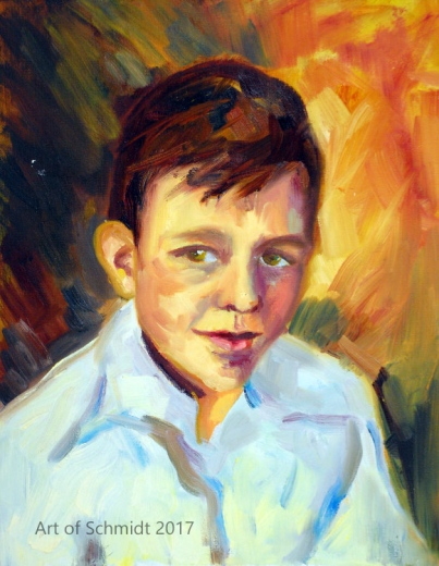 Dad as Young Boy, oil on canvas panel, 11 x 14, Jodie Schmidt, 2011.