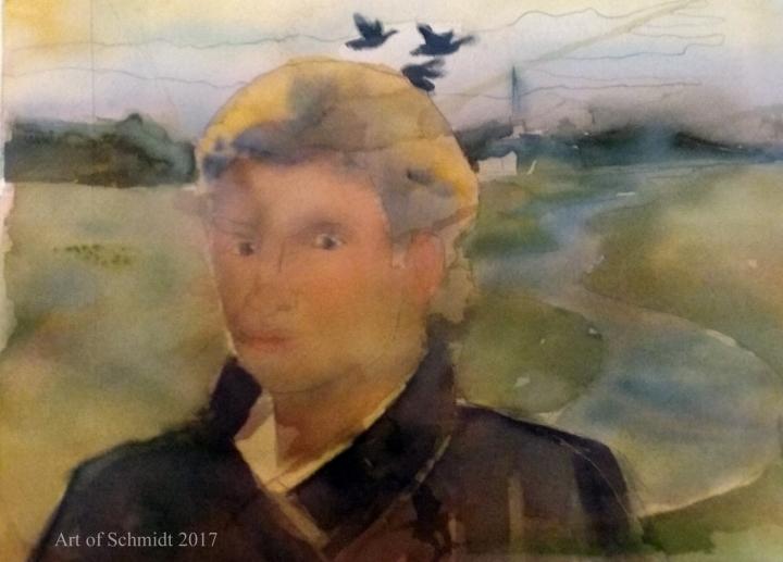 Sting watercolor portrait, flat