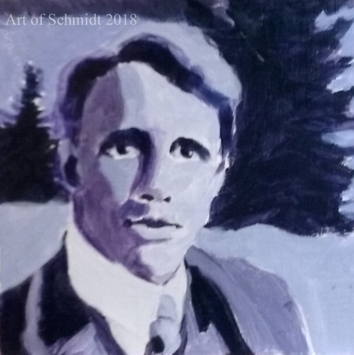 Robert Frost in wooded landscape.