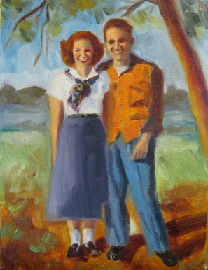 Dad and Phyllis, oil on canvas, 11 x 14 inches, 2012, Jodie Schmidt.