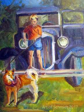 Dad and his 1929 Ford, oil on canvas, 16 x 20 inches, 2012, Jodie Schmidt.