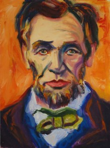 Pop Art Style Lincoln, Oil on Canvas, 11 x 14 inches, 2007, Jodie Schmidt.