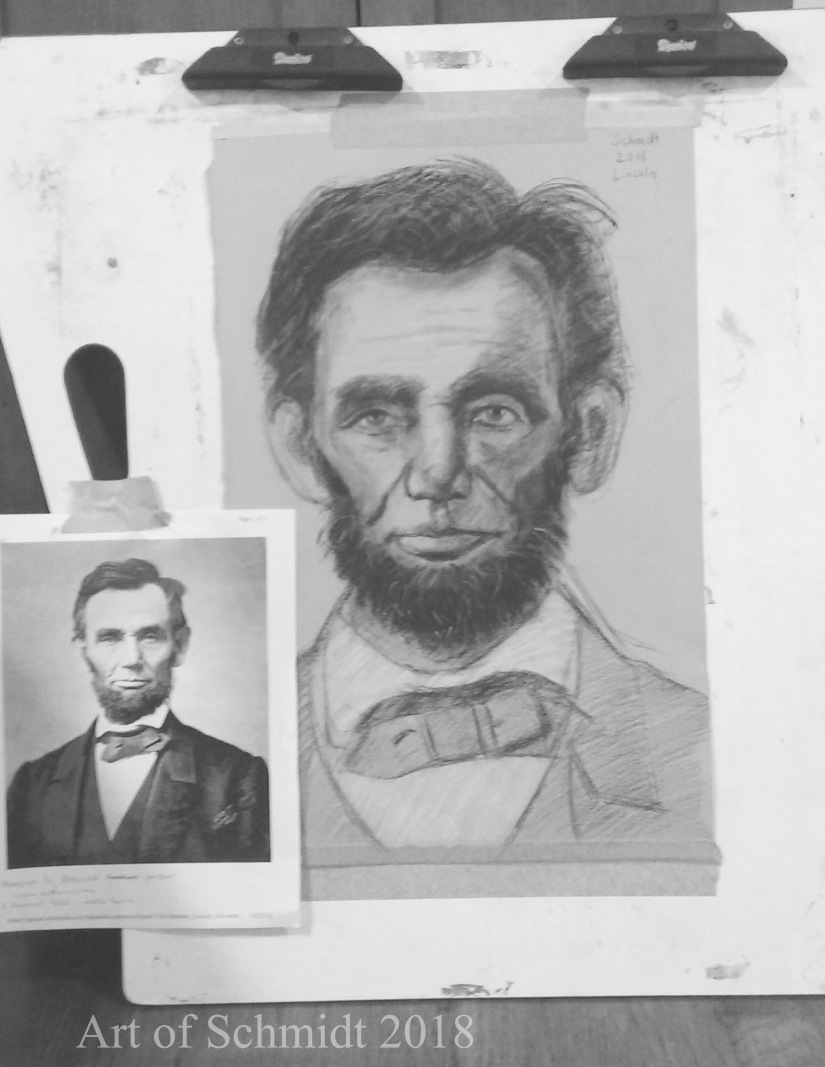 Lincoln Portrait in Pastel, flat
