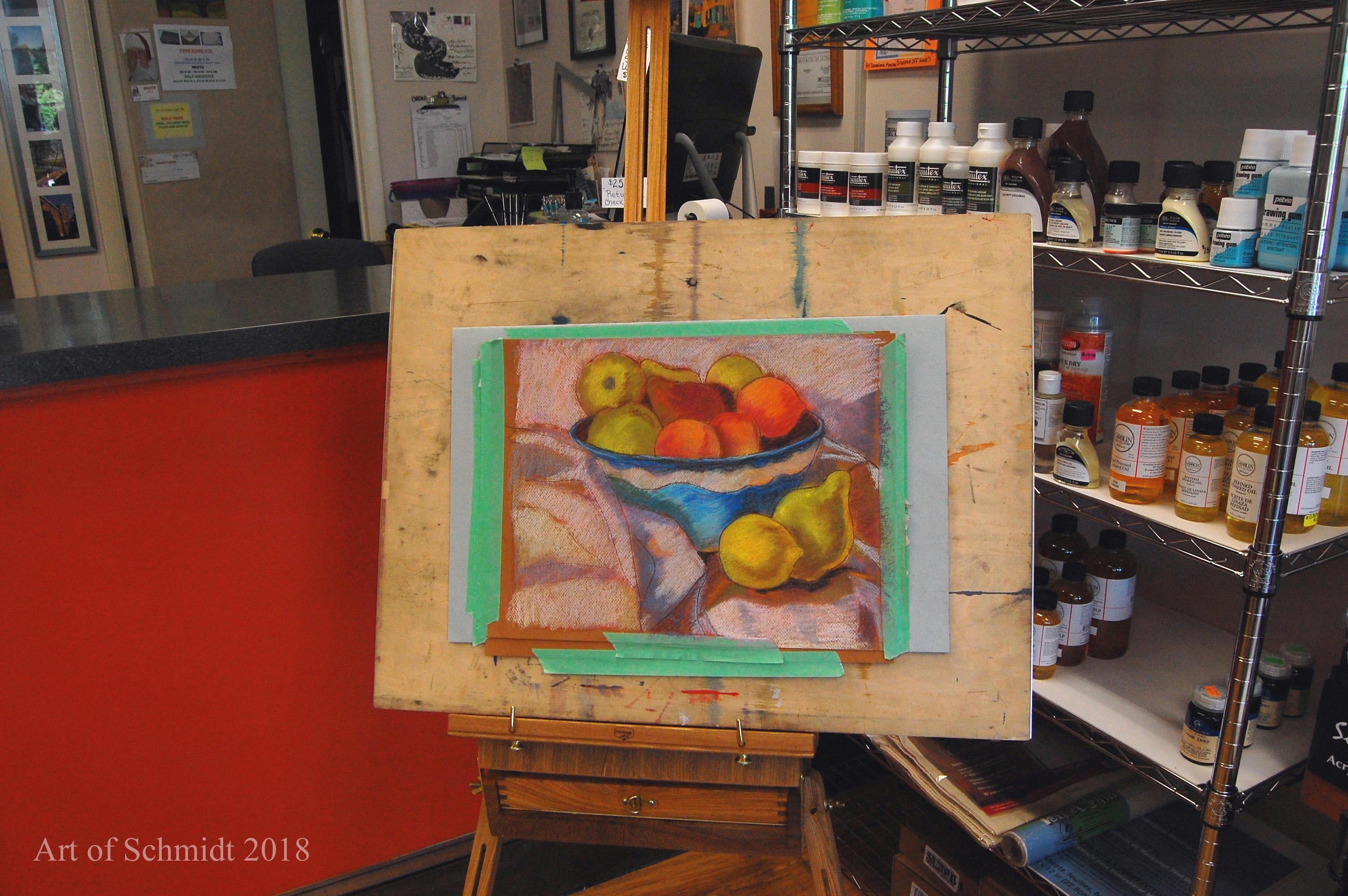 demonstration pastel painting, flat