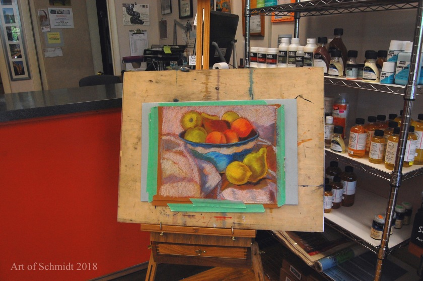 demonstration pastel painting, flat