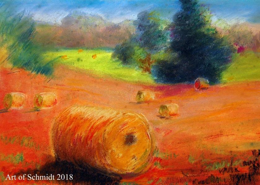 Haybale pastel landscape, flat-1