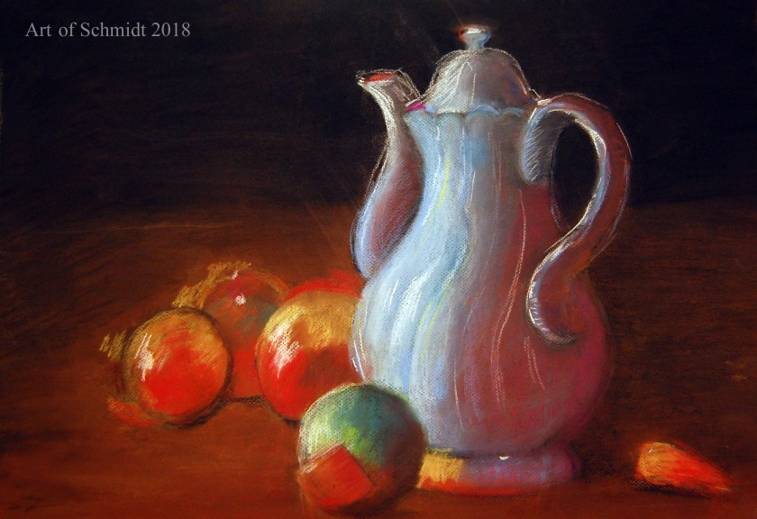 pastel still life with onions and carafe1