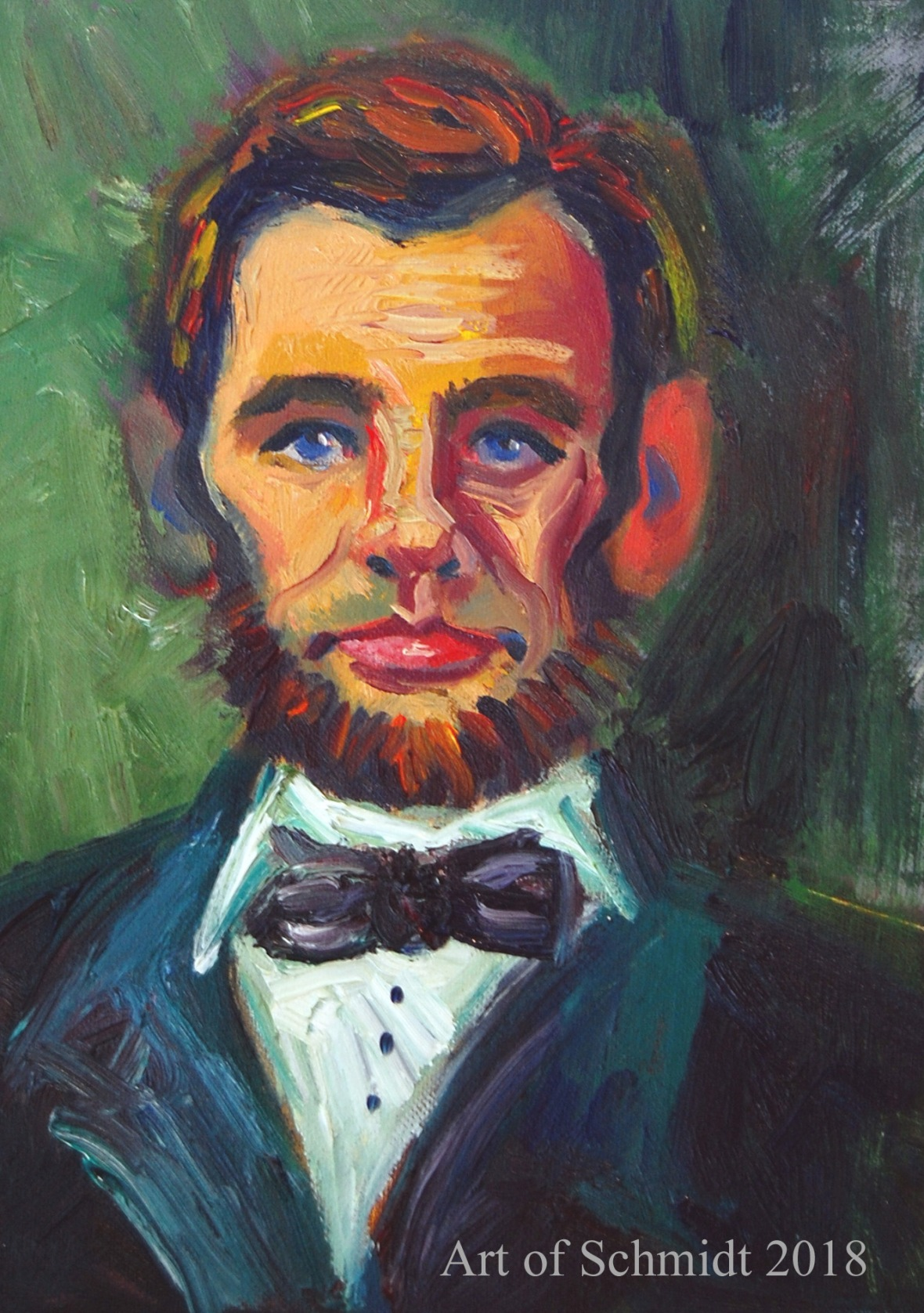 Abe Lincoln, portrait in green-re-worked, flat