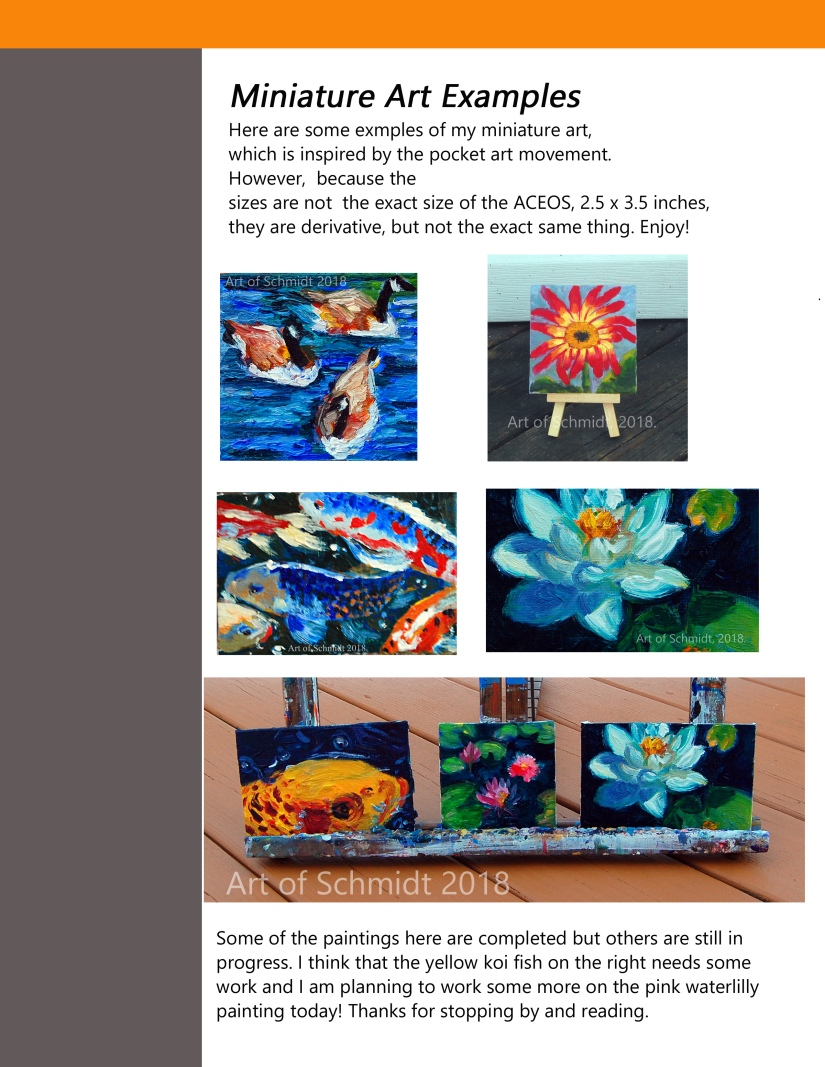 Art of Schmidt, July 2018, page 4, pocket art, examples, flat