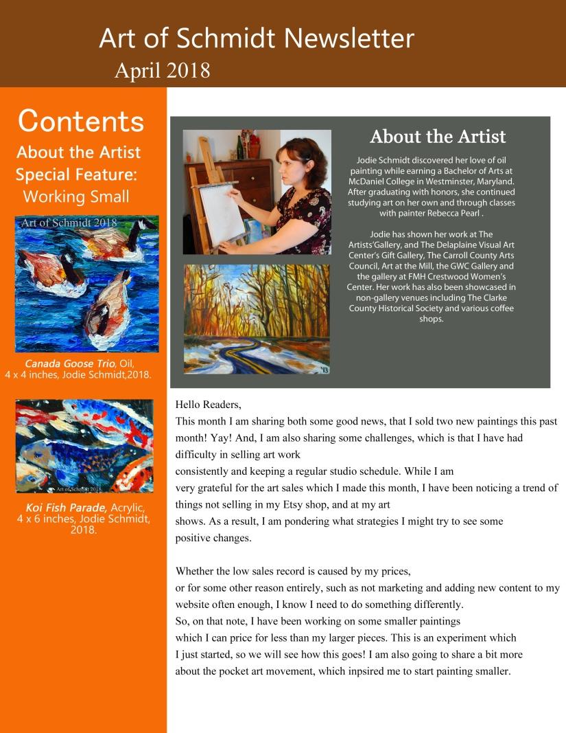 Art of Schmidt Newsletter, July 2018, page1, final, flat