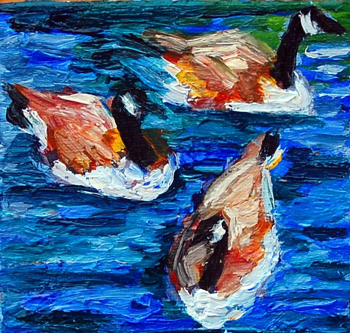 Canada Geese trio, miniature, flat