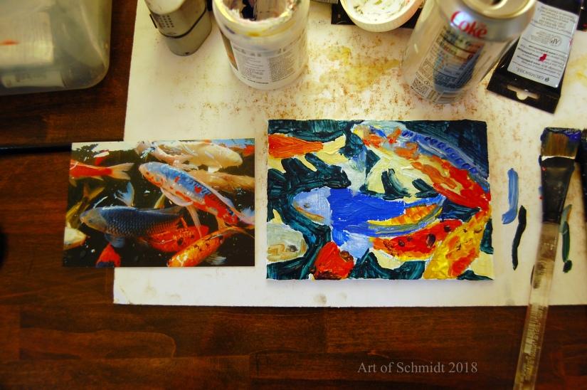 Koi fish painting, flat