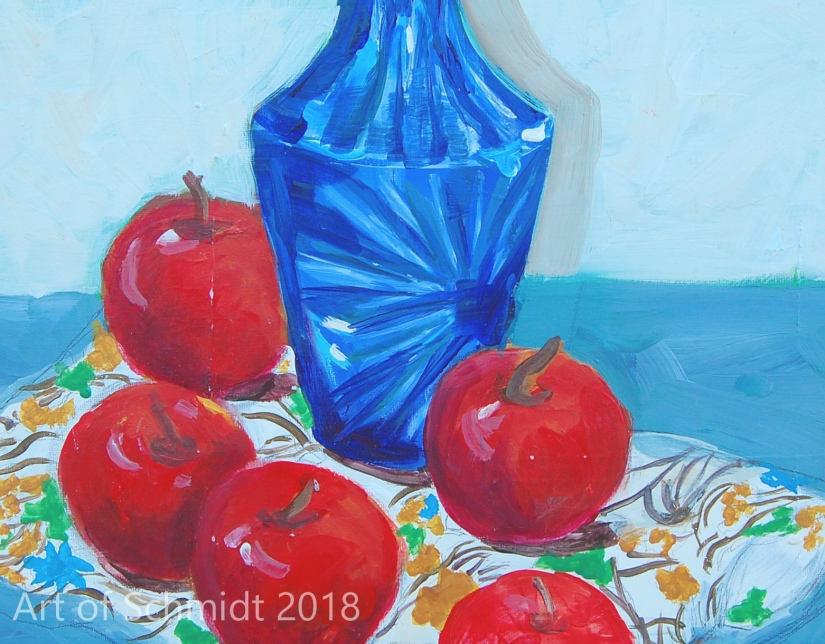 Apple Still Life with blue bottle, flat