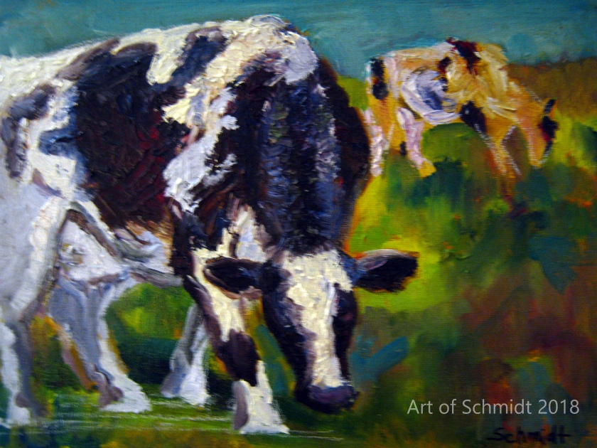 Cows grazing, unfinsihed, flat