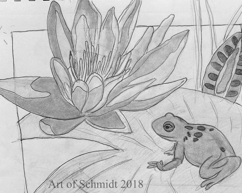 water lily three value sketch_edited-1, flat